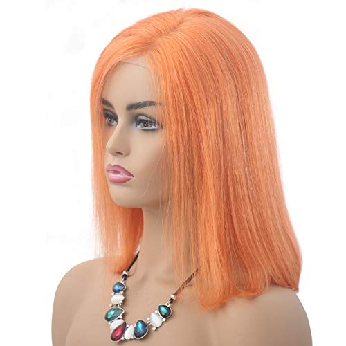 Lace Front Wig Side Part Human Hair With Baby Hair Pre-Plucked Hairline Short Bob Straight 13x6 Silk Straight Brazilian Virgin Hair Bleach Knots Summer Hairstyle Bob (Orange Colored,8 Inch)