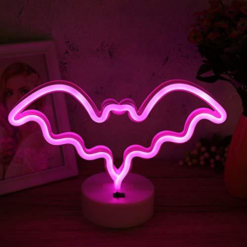 Uonlytech Lámpara LED de neón con forma de murciélago, interruptor, control de Halloween, luz nocturna decorativa, decoración de dormitorio, decoración del hogar, fiesta