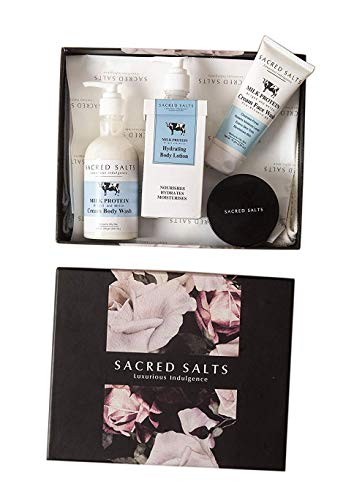 Glamorous Hub Sacred Salts Festive Gift Hamper Milk Protein Body Wash Body Lotion Face Wash Face Scrub Set of 4