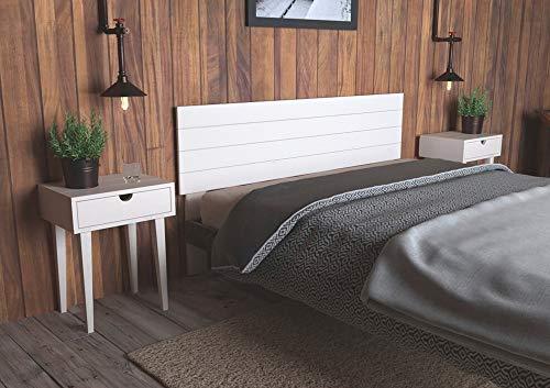 LA WEB DEL COLCHON - Cabecero de Madera Rústico Vintage para Cama de 150 (160 x 90 cms.) Blanco nórdico | Cabeceros Madera | Dormitorio Matrimonio | Cabezal Cama |Estilo nórdico