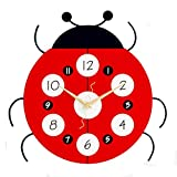 Maxspace Wall Clock Wooden, 12in Cute Ladybug Non-Ticking Wall Clock,Battery Operated and Sweep Quartz Movement Silent Clock for Kids Living Room Bedroom Kitchen School Office Decor (Red)
