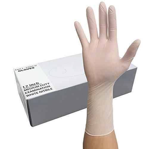 Infi-Touch White Nitrile Gloves, 12' Length, Powder Free, Disposable Gloves, Non Sterile, 50 Gloves (Large)