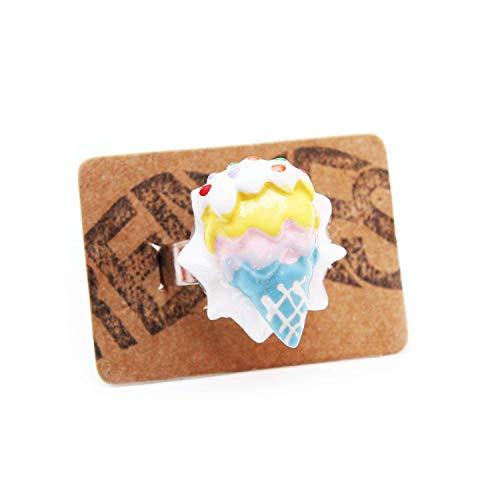 Eiswaffel Ring blau gelb Silber - verstellbare Größe - Kitsch Waffeleis EIS Eistüte Sommer Softeis