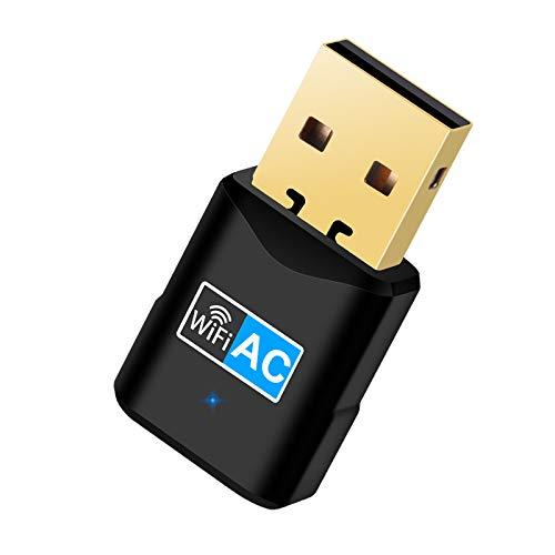 Adaptador WiFi USB, Wodgreat WiFi USB 600Mbps Dual Band 5G/2,4G Mini WiFi USB Receptor WiFi USB para PC Laptop Desktop, WiFi Dongle Soporte Windows 10/8/7/Vista/XP, MacOSX10.6-10.15, No se Necesita CD