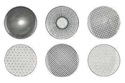 "Ard'time ""Komaé"" Teller aus Steingut, Schwarz-Weiß, 6Stück, Keramik, Geometric Panaches Designs, 21,5 x 21,5 x 2 cm"