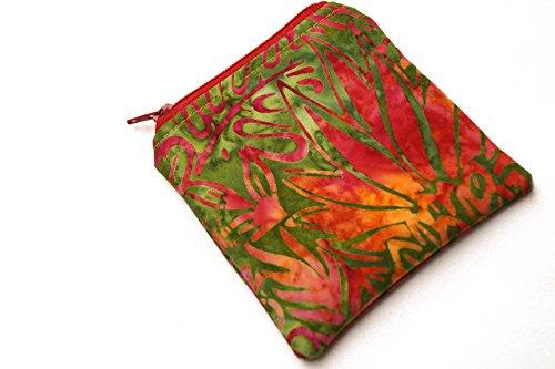 Batik Tropical Fabric Zipper Pouch or Coin Purse