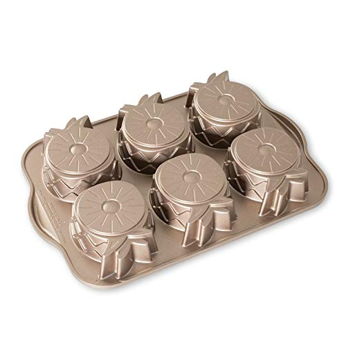 Nordic Ware Gugelhupf Bakeware Mini-Ananas-Kuchenform aus Aluminiumguss, antihaftbeschichtet