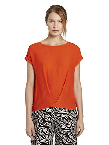 TOM TAILOR Damen Faltendetail Bluse, 22370-Strong Flame Orange, 38