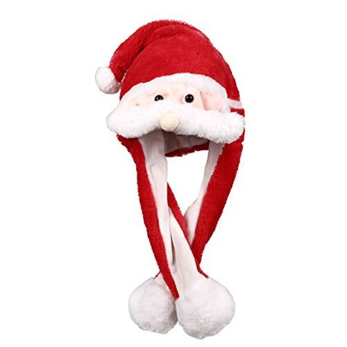 Gorro de Papá Noel con diseño de alce y bola de Navidad, orejas rojas divertidas que se mueven 2