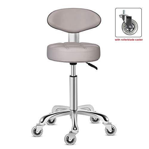 Kaleurrier Rollstuhl mit leichtgängigen Doppel-Rollrollen, Bequeme, gepolsterte Rückenlehne, Drehsitz, strapazierfähig, hydraulische Höhenverstellung, robust und langlebig grau