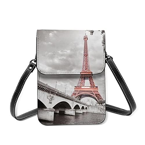 Bolso bandolera París, Eiffelturmbrücke Hauptstadt - Cartera de piel sintética para mujer, con cremallera, impermeable, multifuncional