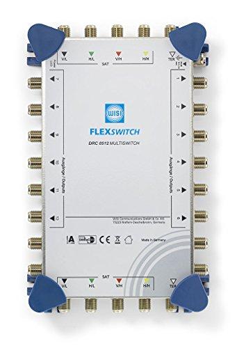 WISI FLEXSWITCH Multischalter DRC 0512 – Kaskadierbarer 5-in-12 Multiswitch mit aktivem terrestrischem Zweig für 12 Teilnehmer – Für DVB-T/T2, DVB-S/S2, DAB & UKW, silber