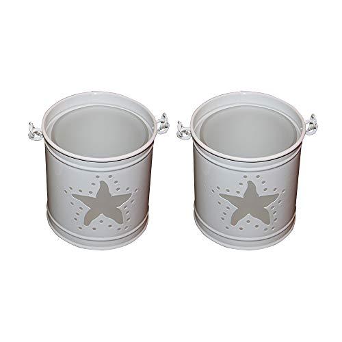 CB Präsentwerbung GmbH - Portacandela antivento in metallo con vetro smerigliato (set da 2 stelle)