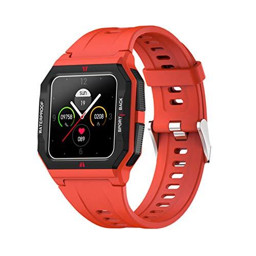 Gymqian 2021 Nuevo Ft10 Sports Smart Watch Monitoreo de Ritmo Cardíaco Personalizado Dial Hombres Fitness Tracker Pantalla Táctil Completa Smartwatch para Android Ios, Negro Exquisito/Roj