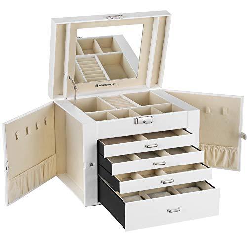 SONGMICS Schmuckkästchen Uhrenbox 5 Schichten mit 4 Schubladen abschließbar mit Spiegel, Weiß JBC217W