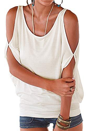 Mujer Camiseta Suelto Batwing Blusa Casual Hombros Descubiertos Cuello RedondoTop tee Verano