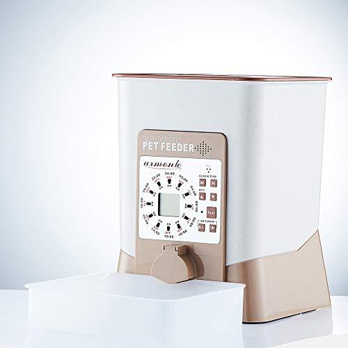 DC Wesley Alimentador de Mascotas Cronometraje automático Dispositivo de alimentación Inteligente cuantitativo Gato Perro Dispositivo de alimentación Blanco/marrón