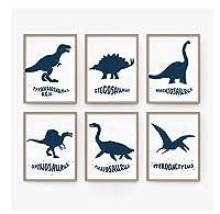 Chenjiaxu 漫画恐竜子供部屋の装飾印刷画像壁画子供ギフト家の装飾-40X50Cmx6フレームなし