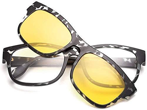 Unisex superlicht gepolariseerde zonnebril, unisex retro-zonnebril met verwisselbare lenzen voor mannen vrouwen gekleurde lens onbreekbaar TR90 montuur clip-on UV-bescherming magie zonnebril met magneten