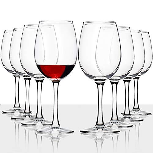 CREST Copas de Vino, Juego de 8, Copas de Vino Tinto y Blanco con Tallo, 16 onzas, sin Plomo, Transparente