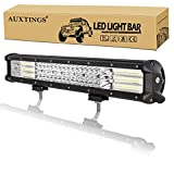 AUXTINGS 18 pulgadas 450W 4 Fila Barra de luz LED Trabajo Luz Punto Inundación Haz para camiones Tractor 4X4 Barco Off Road Auto niebla lámpara de conducción