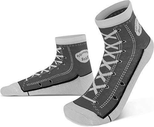 normani 4 Paar Socken im Schuh-Design mit vielen originalgetreuen Details Farbe Grau Größe 43/46