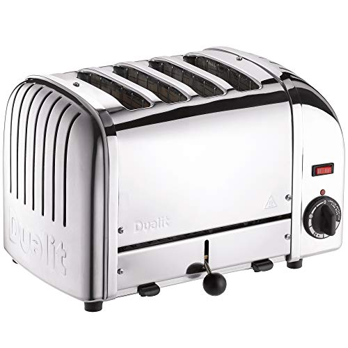 Dualit Classic 4 Slice Vario Toaster - Stainless steel, hand built in the UK - Replaceable ProHeat elements - Heat two or four slots, defrost bread, mechanical timer - Replaceable parts