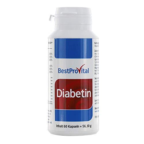 Bestprovita Diabetin bei Diabetes Typ 2, Vitalstoffe für Diabetiker, Blutzuckerspiegel senken, mit Magnesium Zink Chrom Vitamin D, B6, B12