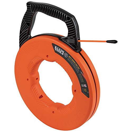 Klein Tools 56382 Fish Tape, Multi-Groove Fiberglass Wire Puller with Nylon Tip, Optimized Housing and Handle, 50-Foot x 0.182-Inch