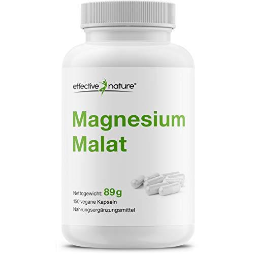 effective nature - Magnesium Malat - Pro Tagesdosis 2500mg - Gute Verträglichkeit u. Bioverfügbarkeit - Hergestellt u. laborgeprüft in Deutschland - 150 Kapseln