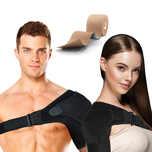 HOKI Shoulder Brace Support Men, Women for Rotator Cuff, Dislocated AC Joint, Labrum Tear, Shoulder Pain, Compression Sleeve, Breathable Neoprene, Adjustable Strap, Pressure Pad + Kinesiology Tape
