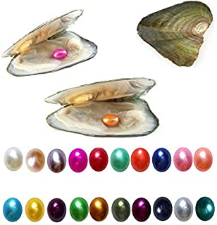 10PC Freshwater Cultured Pearl Oyster with 7-8mm Oval Pearl Inside Random Color 10 PCS