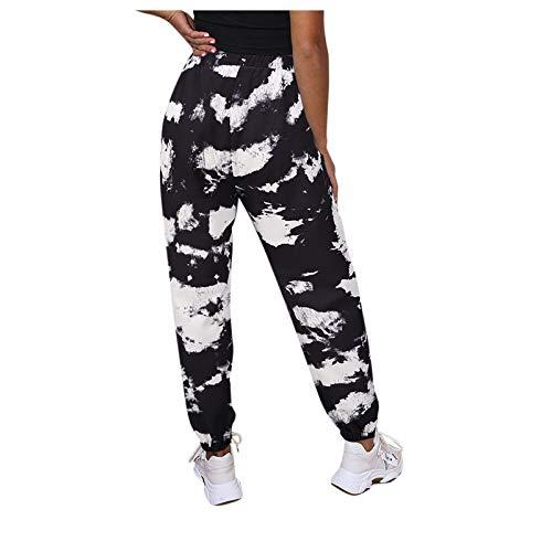 N-B Pantalones Chándal Largos Mujer Primavera Sueltos Dibujos de Tie-dye Camuflaje Delgado Casual Leggings Deportivos Suave Transpirable Mallas de Deporte