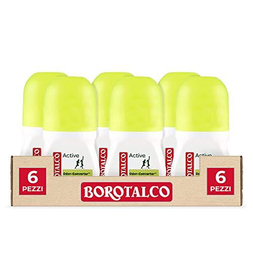 Borotalco, Deodorante Roll-On Active con Odor Converter, Più Sudi e Più Si Attiva, Profumo di Cedro e Lime, Freschezza Continua, Giallo, Deodorante Uomo e Donna - 6 Flaconi da 50 ml