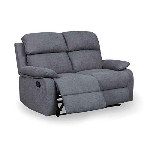 DecoInParis Canapé Relax 2 Places en Tissu Keaton (Gris foncé)