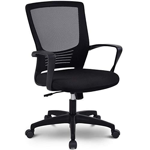 Home-Office-Stuhl, ergonomischer drehbarer Schreibtischstuhl mit Armlehne, Kopfstütze und Lordosenstütze, Verstellbarer Netz-Computerstuhl mit Wippenfunktion, Tragfähigkeit von 150KG (schwarz A.)