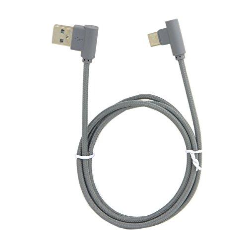 Cablecc USB-C 3.1 Tipo-C a ángulo izquierdo 90 grados USB 2.0 cable de datos con funda para tablet y teléfono móvil