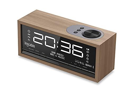Inscabin C1 DAB DAB+FM Radio Radio Sveglia Digitale con Grande Schermo Altoparlante Portatile Senza Fili con Bluetooth, Suono Stereo, Bellissimo Design per Camera da Letto Cucina Ufficio (Nero Noce)