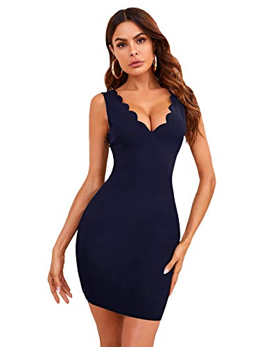 SheIn Women's Deep V Neck Sleeveless Scallop Trim Solid Bodycon Short Dress Navy Blue X-Small