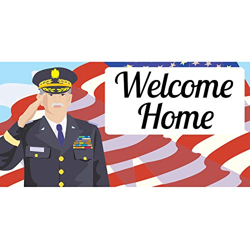 BANNER BUZZ MAKE IT VISIBLE Welcome Home Army Soldier Banner 11 Oz High Quality Vinyl PVC Flex Banners with Hemmed Edges & Metal Grommets Free (10' X 4') -  BannerBuzz