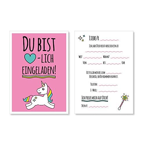 15 Einhorn Einladungskarten I DIN A6 I Einladung Set Kinder-Geburtstag zur Einschulung zum Ausfüllen für Kinder Mädchen Motto-Party I I dv_014