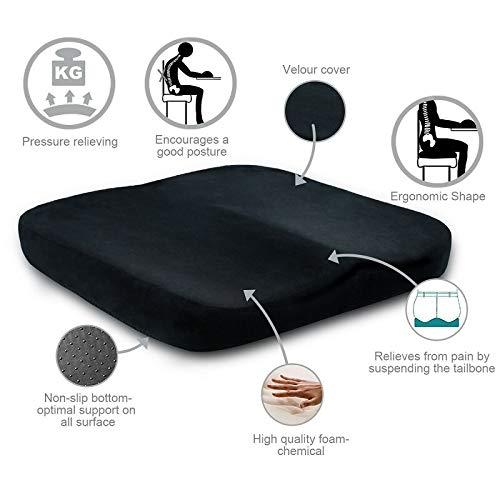 OLI Orthopedie zitkussen voor stoelen pluche Memory Foam Anti-Decubitus Office Auto zitkussen verzorging staart rugkussen kussen 401x40x6cm zwart