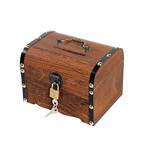 XHAEJ Hucha de madera con pestillo para niños y adultos, diseño de cofre del tesoro, bancos de dinero para niños, hucha