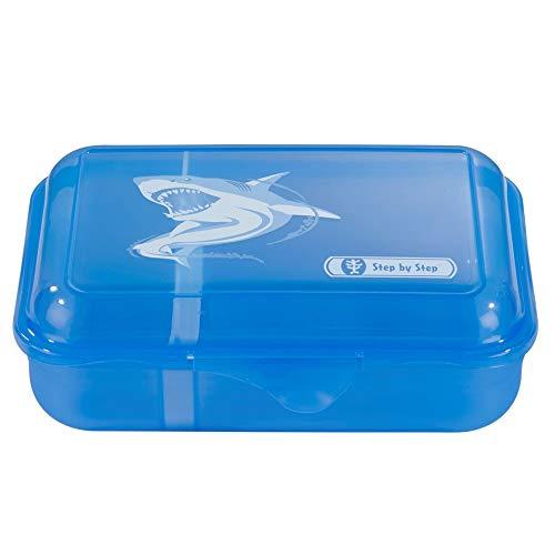 """Step by Step Lunchbox """"Angry Shark"""", blau, mit Trennwand und Klickverschluss, spülmaschinenfest, BPA-frei, für Schule und Kindergarten, für Jungen und Mädchen, 0,9 Liter"""