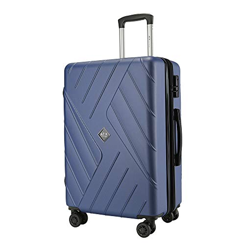 ATX Luggage 21' Durable Hardshell ABS Carry On Cabin Hand Luggage Suitcases Travel Bag with 8 Wheels & Built-in Lock for EasyJet, BA, Jet2(56cm - Carry-on (Non-Expandable), Deep Blue)