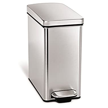 simplehuman 10 Liter/2.6 Gallon Stainless Steel Bathroom Slim Profile Trash Can, Brushed Stainless Steel