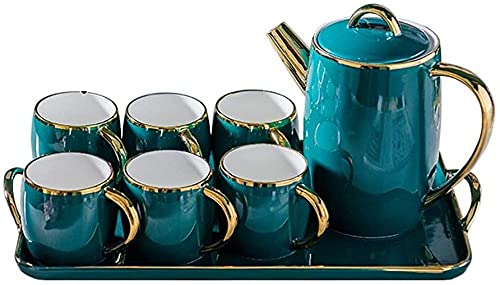 Juego de té de té y taza de café de cerámica europea de ocho piezas de moda por la tarde té conjunto hogar sala de estar taza de agua y té estilo 1