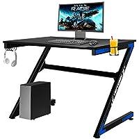 Yigobuy 43 Inch Large Z Shape Gaming Computer Desk (Blue and Black)