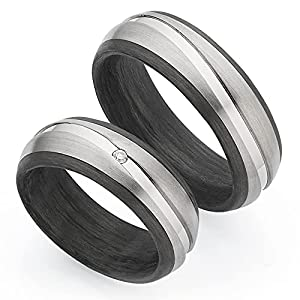 ***AKTIONSPREIS***123traumringe 2x Trauringe/Eheringe Titan/Carbon in Juwelier-Qualität (Brillant/Gravur/Ringmaßband/Etui)