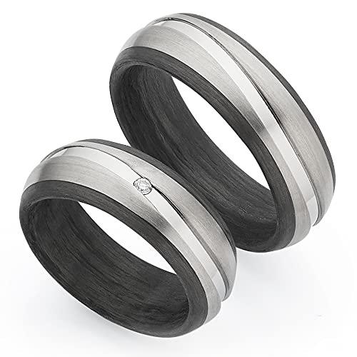 123traumringe Trauringe/Eheringe zum Paarpreis aus Titan/Carbon in Juwelier-Qualität (Brillant/Gravur/Ringmaßband/Etui)